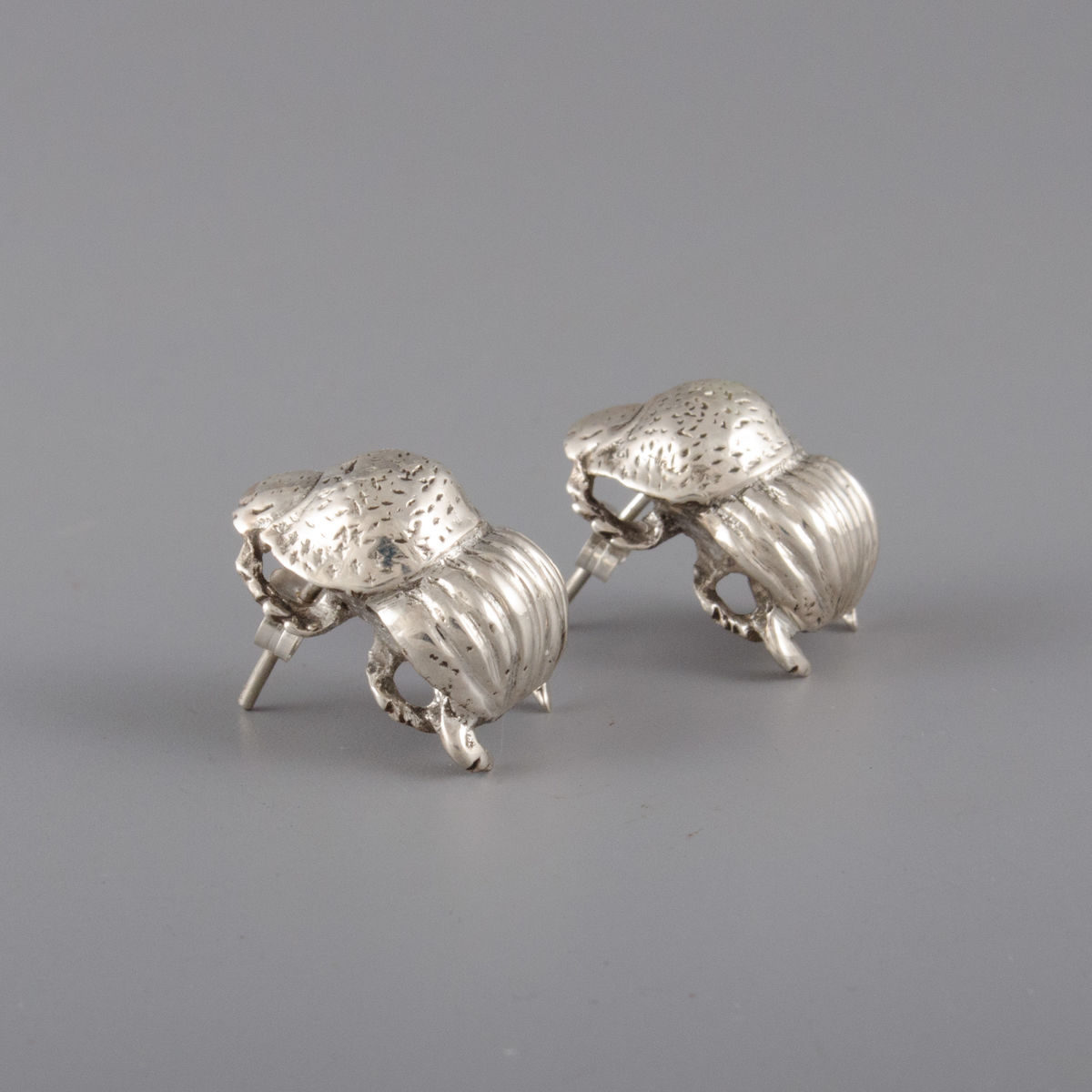 Sterling Silver Dung Beetle Earrings - product image
