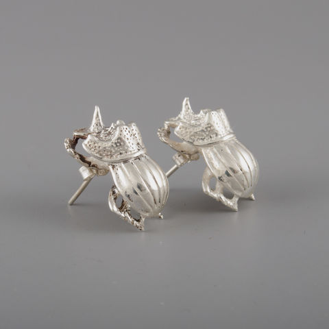 Sterling,Silver,Rhino,Beetle,Earrings,Sterling Silver, Rhino Beetle, Earrings