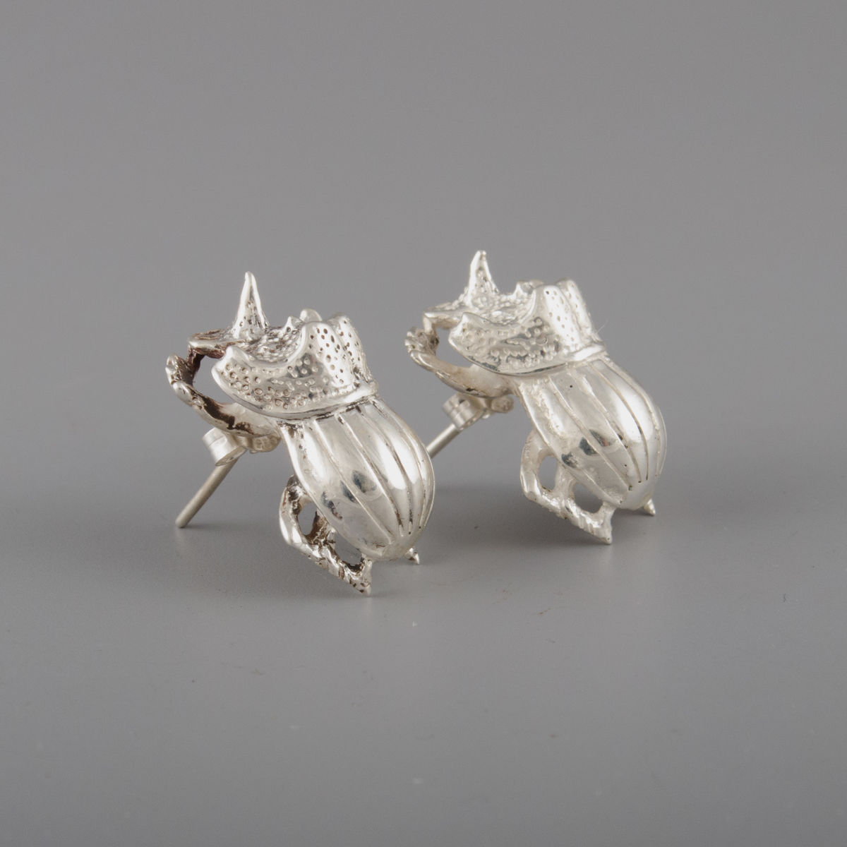 Sterling Silver Rhino Beetle Earrings - product image