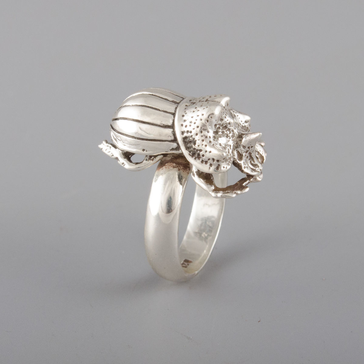 Sterling Silver Rhino Beetle Ring - product image