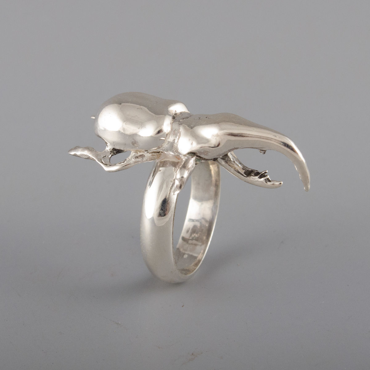 Sterling Silver Crab-Claw Beetle Ring  - product image