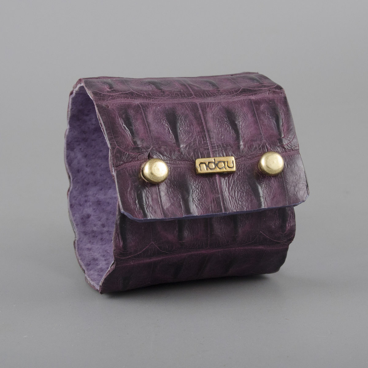 Crocodile Backskin Leather Rock Cuff with Double Holster in Dark Acai - product image