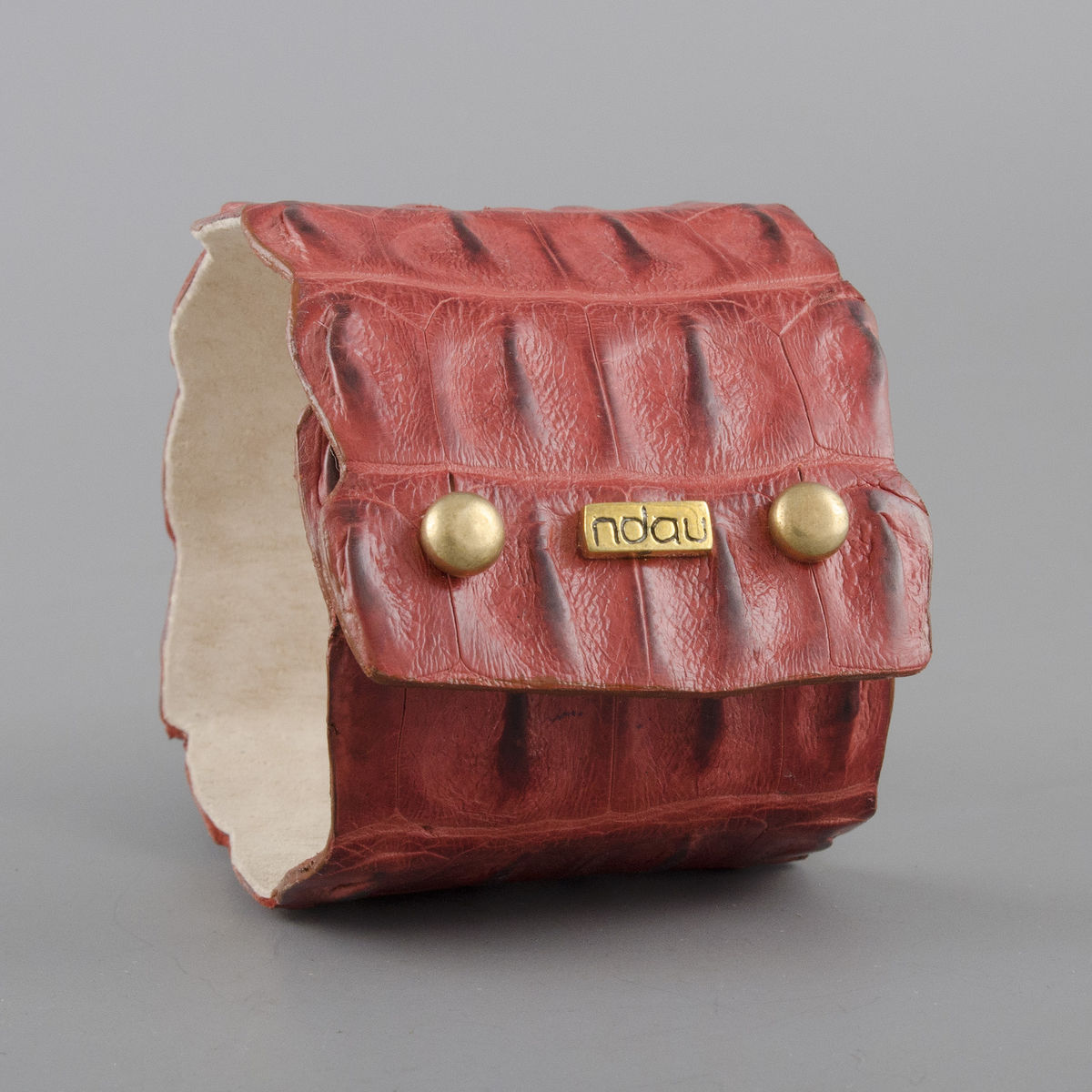 Crocodile Backskin Leather Rock Cuff with Double Holster in Rust - product image