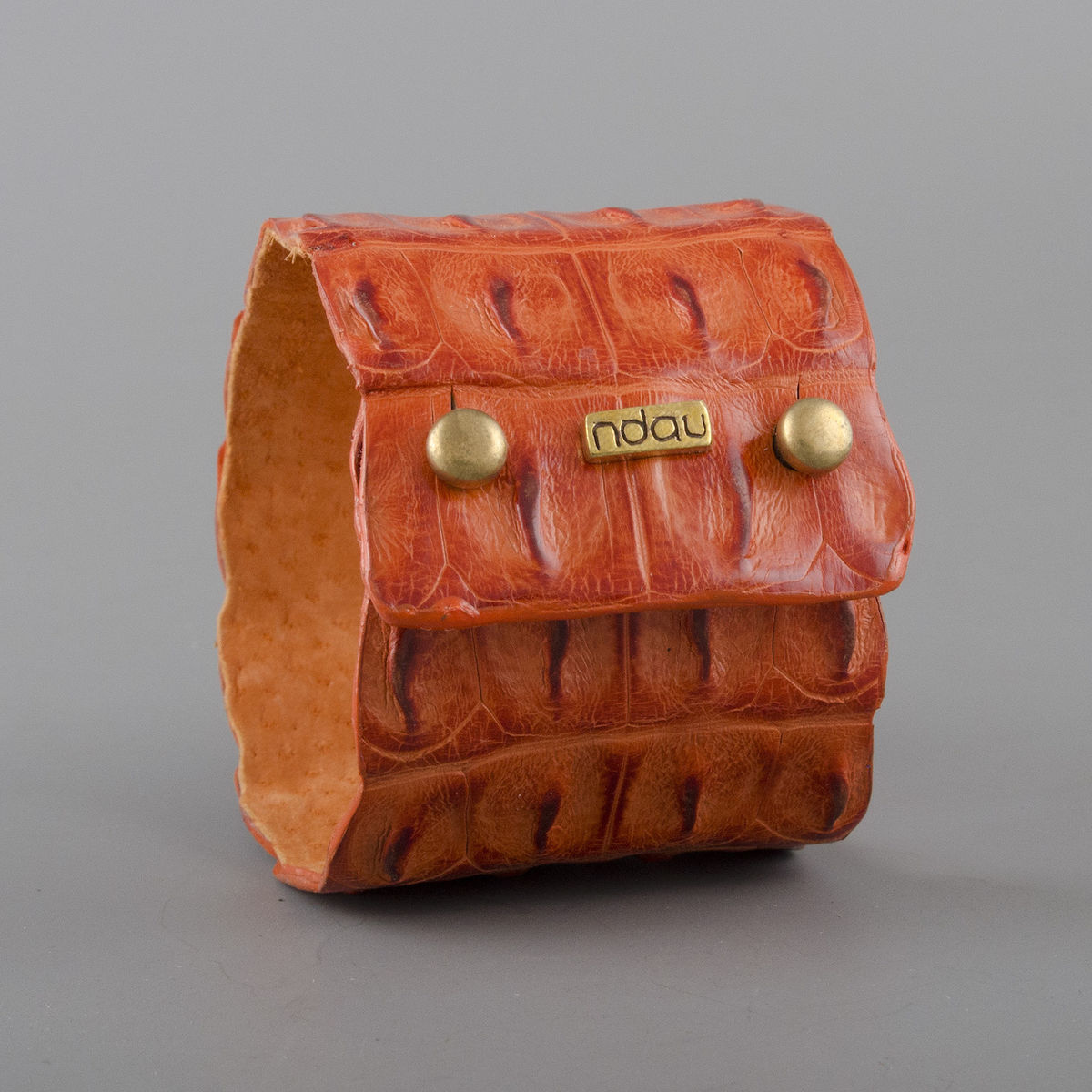 Crocodile Backskin Leather Rock Cuff with Double Holster in Mandarin - product image