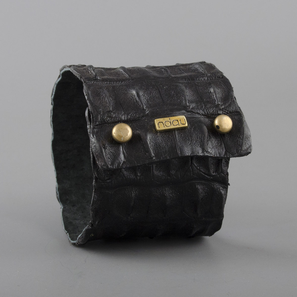 Crocodile Backskin Leather Rock Cuff with Double Holster in Black - product image