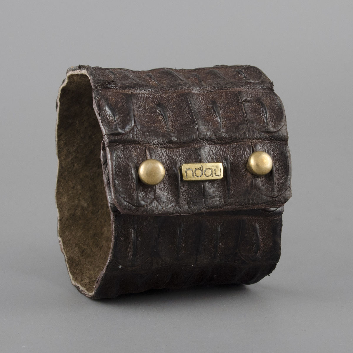 Crocodile Backskin Leather Rock Cuff with Double Holster in Chocolate Brown - product image