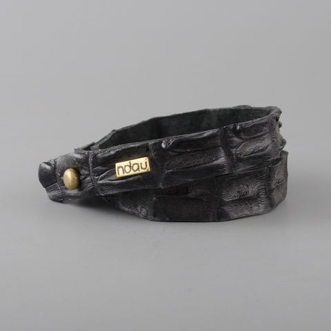 Skinny,Double,Wrap,Crocodile,Leather,Cuff,in,Black,cuff, crocodile, croc, alligator, leather, holster, stud, exotic, wrap, ndau, ndau collection, victoria falls, zimbabwe, africa, jewelry, jewellery