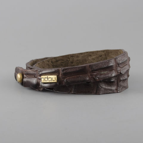 Skinny,Double,Wrap,Crocodile,Leather,Cuff,in,Chocolate,Brown,cuff, crocodile, croc, alligator, leather, holster, stud, exotic, wrap, ndau, ndau collection, victoria falls, zimbabwe, africa, jewelry, jewellery
