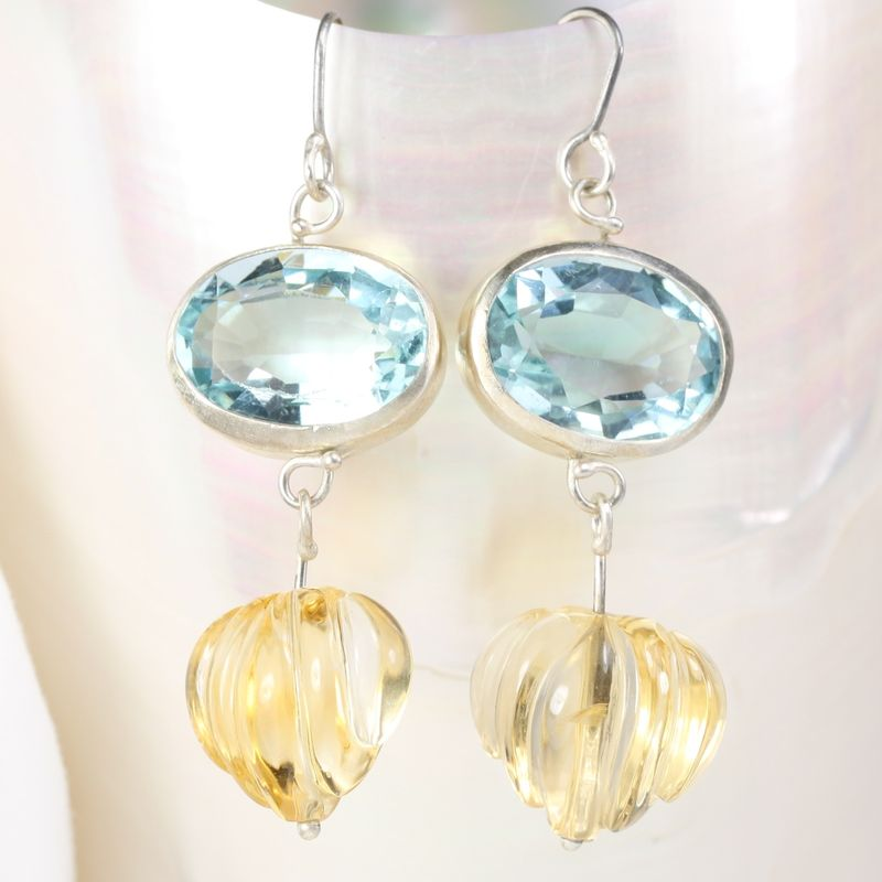 Santa Maria Aquamarine Earrings with Carved Citrine Drops - product images  of