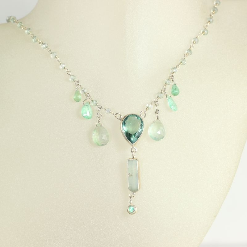 Fluorite & Raw Aquamarine Crystal Necklace Pendant with Emeralds Opal & Green Amethyst - product images  of