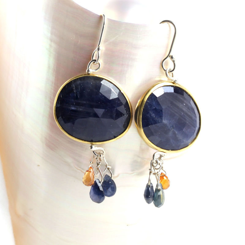 Rose Cut Natural Blue Sapphire Earrings with Orange & Blue Sapphire Briolettes - product images  of