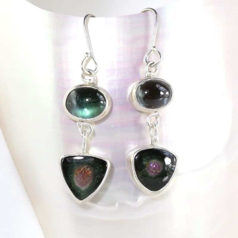 Blue Tourmaline & Watermelon Drop Earrings - product images  of