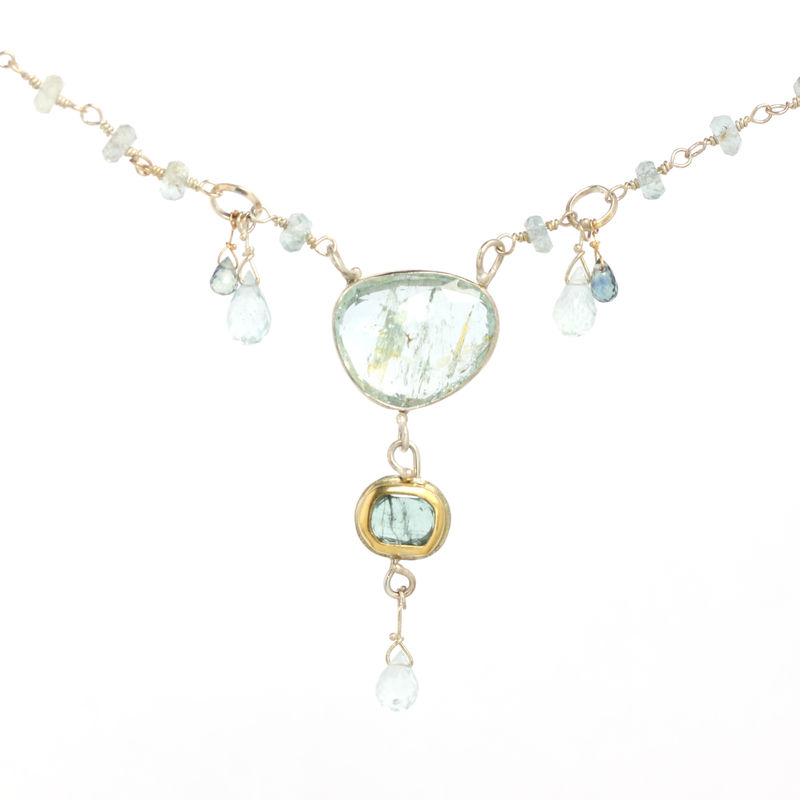 Rose Cut Moss Aquamarine Necklace with Rose Cut Blue Tourmaline Sapphire Briolettes & Aquamarines - product images  of