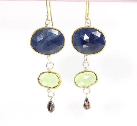 Rose,Cut,Blue,Sapphire,Peridot,and,Diamond,Briolette,Dangle,Earrings,Jewelry,blue_sapphire,rose_cut,rose_cut_peridot,rose_cut_sapphire,diamond_briolettes,earrings,handmade,New_Orleans,champagne_diamonds,blue,jewelry,diamond,green,Sapphires,peridots,diamonds,22K,gold,18K,sterling silver