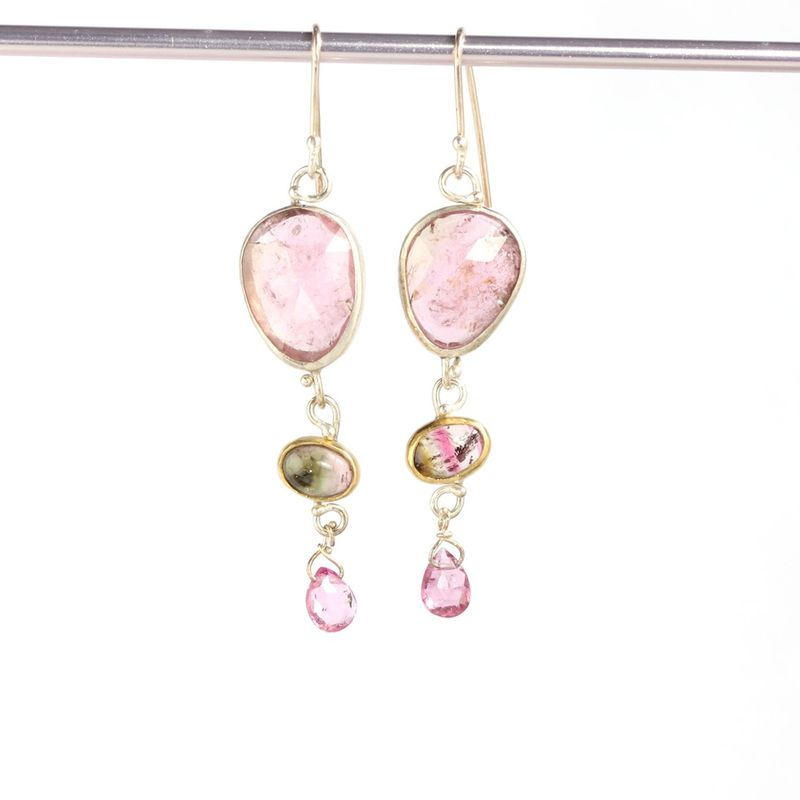 Rose Cut Pink  & Watermelon Tourmaline Earrings - product images  of