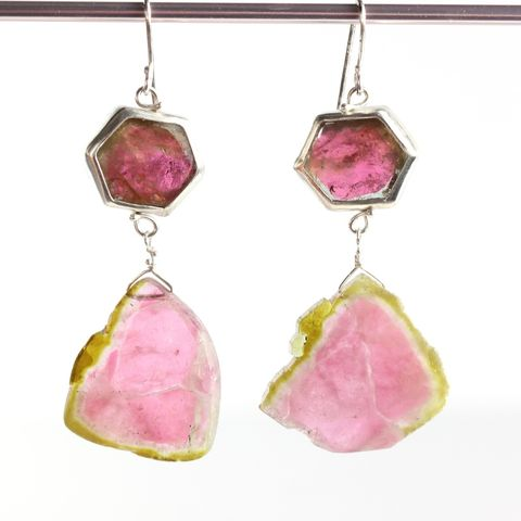 Watermelon,Tourmaline,Slice,Earrings,unique handcrafted jewelry, handcrafted artisan jewelry, unique gemstone jewelry, unique stone jewelry, watermelon tourmaline earrings, watermelon slice earrings, watermelon tourmaline slice earrings, pink green tourmaline earrings