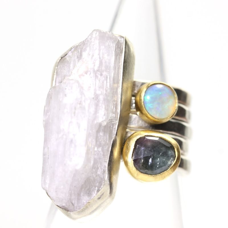 Raw Pink Kunzite Crystal Ring - product images  of