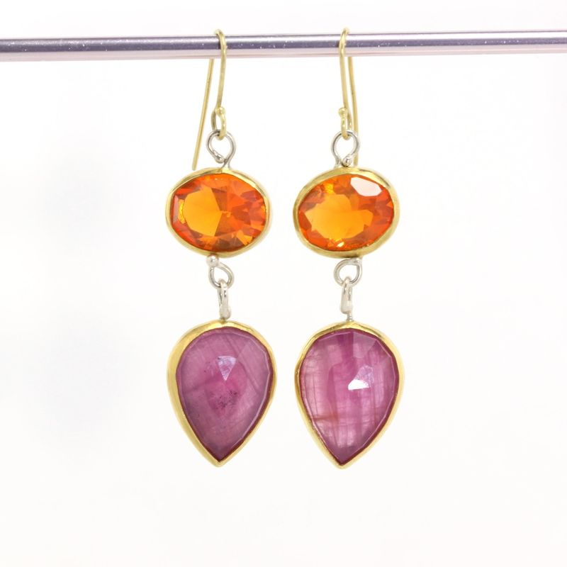 Mexican Fire Opal & Pink Rose Cut Sapphire Drop Earrings - product images  of