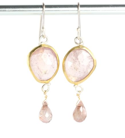 Pale,Pink,Rose,Cut,Sapphire,Earrings,with,Andalusite,Garnet,Briolettes,unique handcrafted jewelry, handcrafted artisan jewelry, unique gemstone jewelry, unique stone jewelry, rose cut sapphire jewelry, rose cut pink sapphire jewelry, rose cut sapphire earrings, pink rose cut sapphire earrings, sapphire+andalusite+earrings
