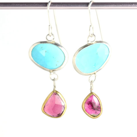 Rose,Cut,Turquoise,Earrings,With,Freeform,Rubelite,Drops,unique handcrafted jewelry, handcrafted artisan jewelry, unique gemstone jewelry, unique stone jewelry, handmade jewelry, New Orleans, rose cut earrings, rose cut turquoise earrings, rose cut turquoise tourmaline earrings, pink blue earrings,