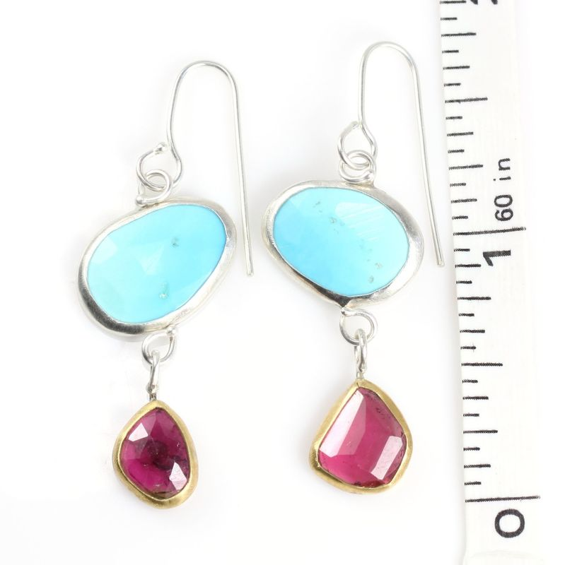 Rose Cut Turquoise Earrings With Freeform Rubelite Drops - product images  of