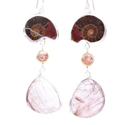Ammonite,Wanga,Talisman,Earrings,With,Oregon,Sunstone,&,Red,Rutile,unique handcrafted jewelry, handcrafted artisan jewelry, unique gemstone jewelry, unique stone jewelry, fossil jewelry, talisman jewelry, ammonite+Oregon sunstone+rutile+earrings, ammonite earrings, wanga, rutilated quartz earrings