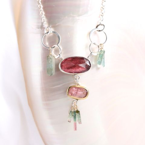Rose,Cut,Pink,Tourmaline,Necklace,With,&,Teal,Raw,Crystals,unique handcrafted jewelry, handcrafted artisan jewelry, unique gemstone jewelry, unique stone jewelry, handmade jewelry, New Orleans, pink tourmaline necklace, rose cut tourmaline necklace, rose cut pink tourmaline necklace, raw tourmaline crystal neck