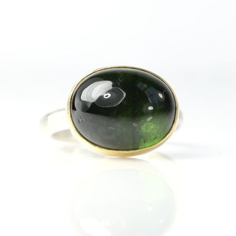 Green,Tourmaline,Cabochon,Ring,unique handcrafted jewelry, handcrafted artisan jewelry, unique gemstone jewelry, unique stone jewelry, handmade jewelry, ring, New Orleans, green tourmaline cabochon, gold, silver, October birthstone, cab, big, oval, 12 carats