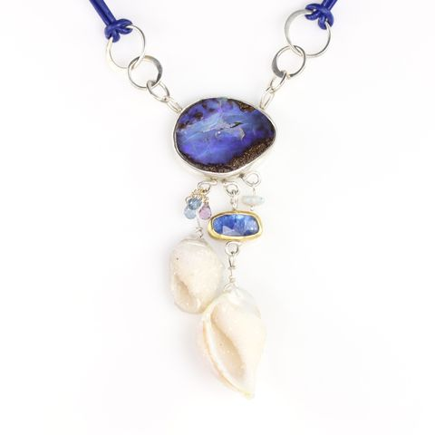 Seashell,Fossil,Druzy,Necklace,With,Boulder,Opal,Rose,Cut,Tanzanite,&,Sapphire,Briolettes,unique handcrafted jewelry, handcrafted artisan jewelry, unique gemstone jewelry, unique stone jewelry, handmade jewelry, seashell fossil druzy necklace, seashell fossil pendant, New Orleans, blue, purple, seashell, druzy, fossil, boulder opal, opal, tanz