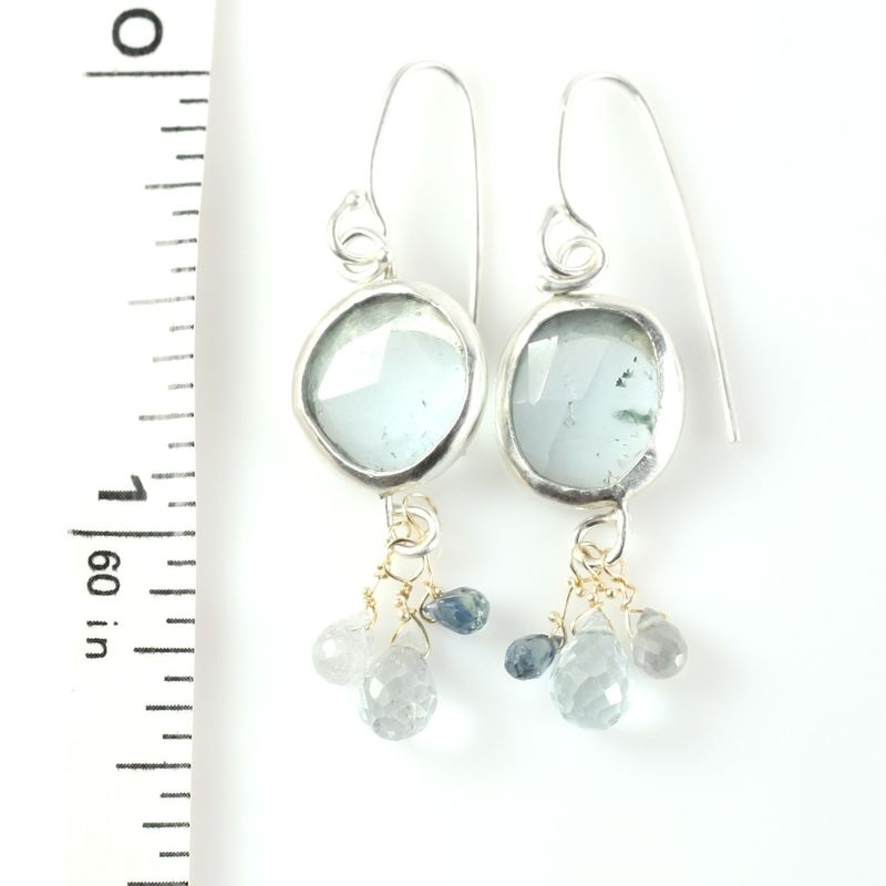 Rose Cut Aquamarine Earrings With Sapphire & Aquamarine Briolettes - product images  of