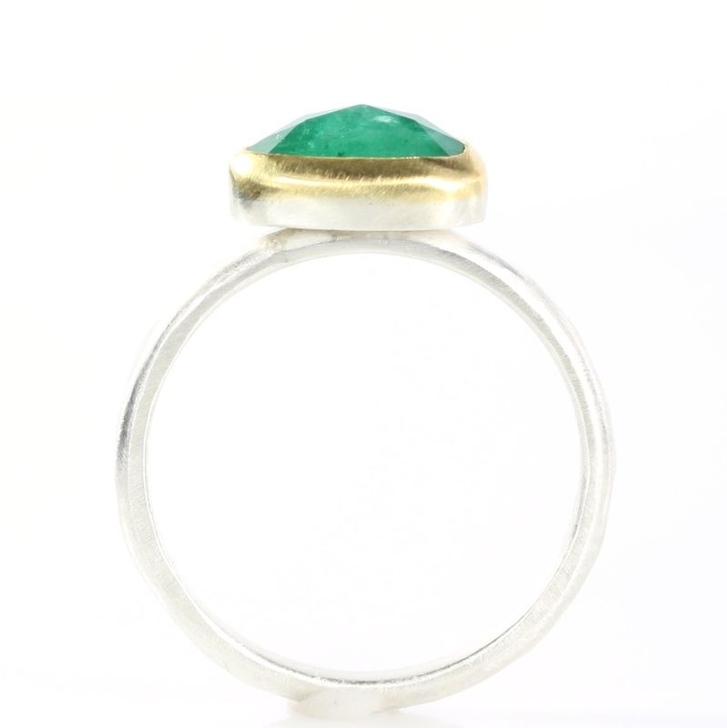 Rose Cut Natural Emerald Stacking Ring - product images  of