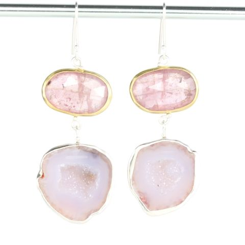 Rose,Cut,Pink,Sapphire,Earrings,With,Baby,Geodes,handmade jewelry, unique handcrafted jewelry, handcrafted artisan jewelry, unique gemstone jewelry, unique stone jewelry New Orleans, earrings, September birthstone,rose cut sapphire, rose cut, pink, pink sapphire, pink rose cut sapphire, baby geode, geod