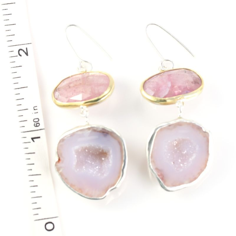 Rose Cut Pink Sapphire Earrings With Baby Geodes - product images  of