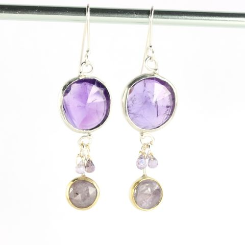 Rose,Cut,Amethyst,&,Purple,Sapphire,Earrings,unique handcrafted jewelry, handcrafted artisan jewelry, unique gemstone jewelry, handmade rose cut earrings, handmade jewelry, New Orleans, earrings, purple, purple sapphire, amethyst, rose cut amethyst, lavender sapphire, rose cut purple sapphire, rose