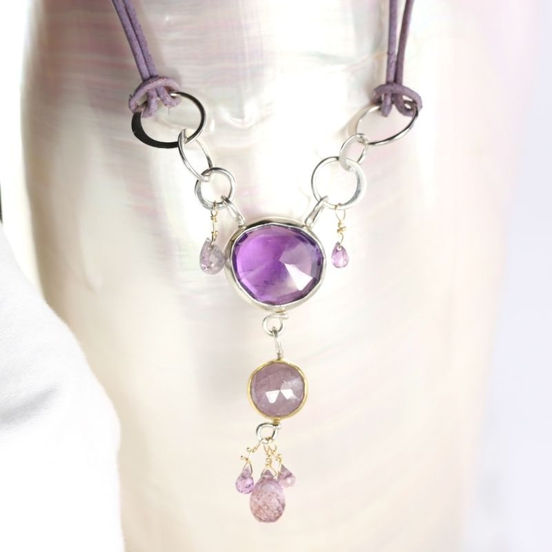 Rose Cut Amethyst & Purple Sapphire Pendant - product images  of
