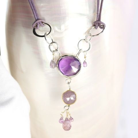 Rose,Cut,Amethyst,&,Purple,Sapphire,Pendant,unique handcrafted jewelry, handunique handcrafted artisan jewelry, unique gemstone jewelry, unique stone jewelryHandmade jewelry, New Orleans, pendant, necklace, February birthstone, September birthstone, purple, purple sapphire, rose cut, amethyst, amet