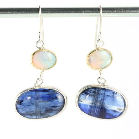 Blue,Kyanite,&,Australian,Opal,Earrings,unique handcrafted jewelry, handcrafted artisan jewelry, unique gemstone jewelry, unique stone jewelry   raw gem jewelry, handmade raw crystal jewelry, blue kyanite earrings, opal+kyanite+earring, opal+blue+kyanite+earrings, blue earrings, blue kyanite ea