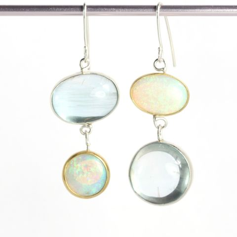Australian,Opal,&,Aquamarine,Mis,Matched,Earrings,unique handcrafted jewelry, handcrafted artisan jewelry, unique gemstone jewelry, unique stone jewelry, mis matched earrings, New Orleans, handmade earrings, blue earrings, opal earrings, aquamarine earrings, opal aquamarine earrings