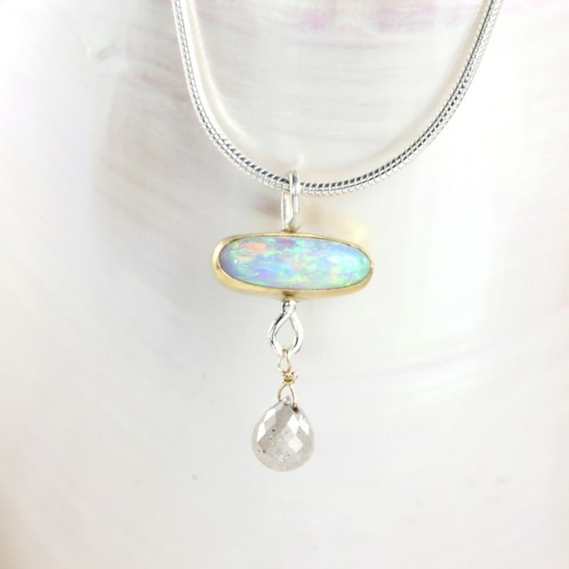 Lightning Ridge Opal Pendant With Diamond Briolette - product images  of