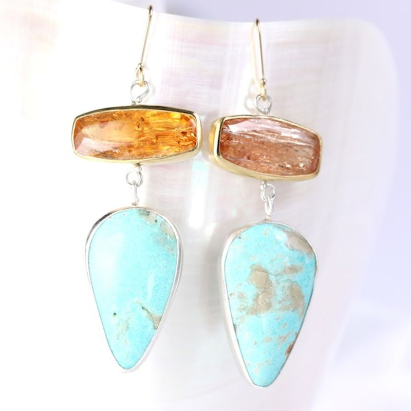Imperial Topaz Earrings With Turquoise Drops - product images  of