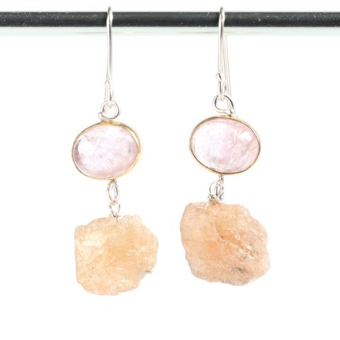 Morganite,Earrings,With,Raw,Topaz,Crystal,Drops,unique handcrafted jewelry, handcrafted artisan jewelry, unique gemstone jewelry, unique stone jewelry, natural crystal jewelry, handmade raw crystal jewelry, morganite earrings, raw topaz earrings, morganite+topaz+earrings, pink emerald jewelry, raw topa