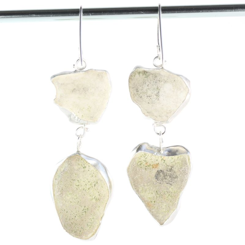 White Baby Geode Double Drop Earrings - product images  of