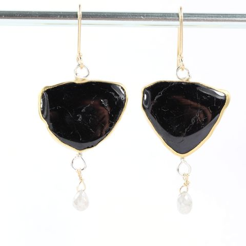 Black,Tourmaline,Slice,Earrings,With,Diamond,Briolette,Drops,black and white jewelry, black tourmaline earrings, black tourmaline slice, black tourmaline slice earrings, black tourmaline diamond earrings, tourmaline slice diamond earrings, New Orleans, unique handcrafted jewelry, handcrafted artisan jewelry, unique
