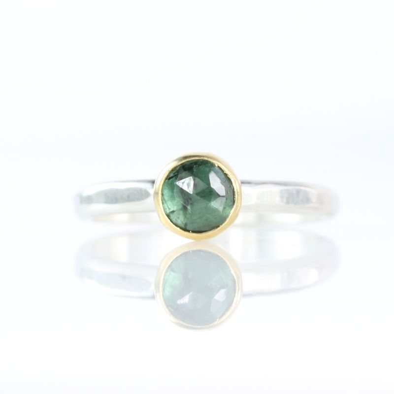 Set Of Rose Cut Teal Blue Tourmaline Stacking Rings - product images  of