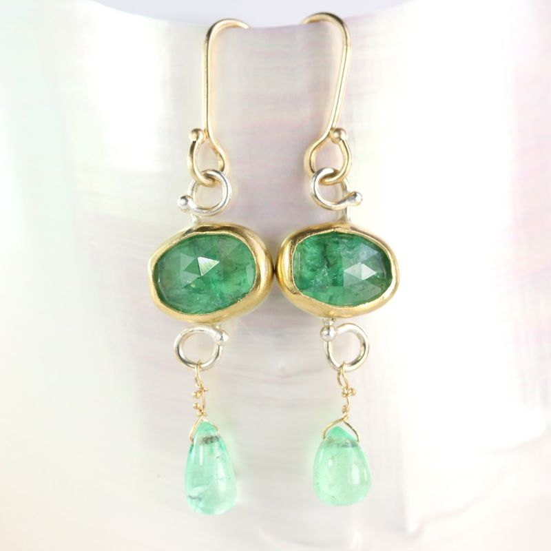 Rose Cut Natural Green Emerald Drop Earrings - product images  of
