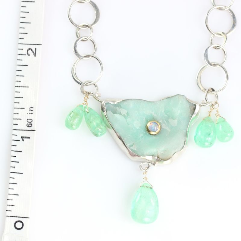 Raw Chrysoprase Pendant Necklace With Emerald Drops - product images  of