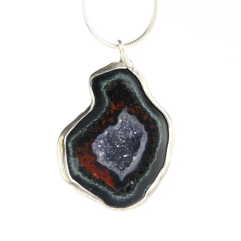 Red,Geode,Pendant,geode, baby geode, geode jewelry, baby geode jewelry, geode pendant, baby geode pendant, red geode, unique handcrafted jewelry, handcrafted artisan jewelry, unique gemstone jewelry, unique stone jewelry, natural crystal jewelry, handmade raw crystal jewel