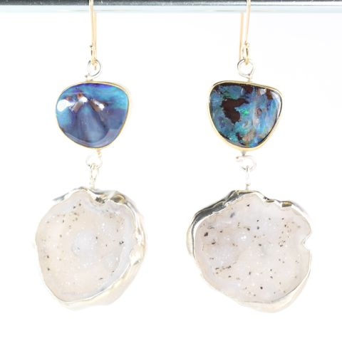 Australian,Boulder,Opal,Earrings,With,Baby,Geode,Drops,opal geode earrings, boulder opal earrings, boulder opal geode earrings, baby geode earrings, geode earrings, opal earrings, unique handcrafted jewelry, handcrafted artisan jewelry, unique gemstone jewelry, unique stone jewelry, natural crystal jewelry, h