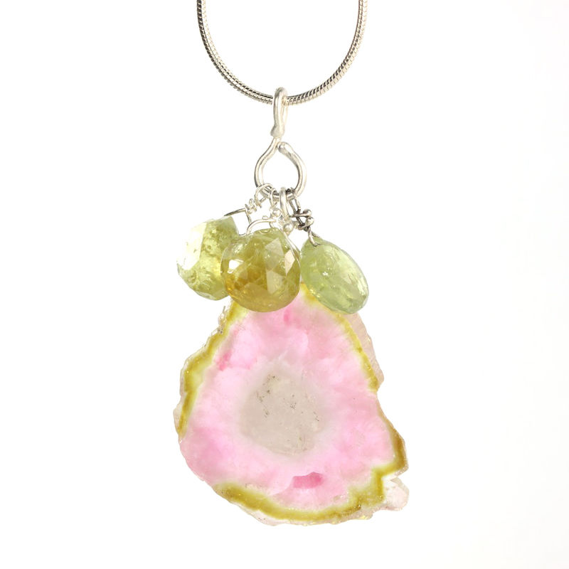 Watermelon Slice Tourmaline Pendant With Green Garnets - product images  of