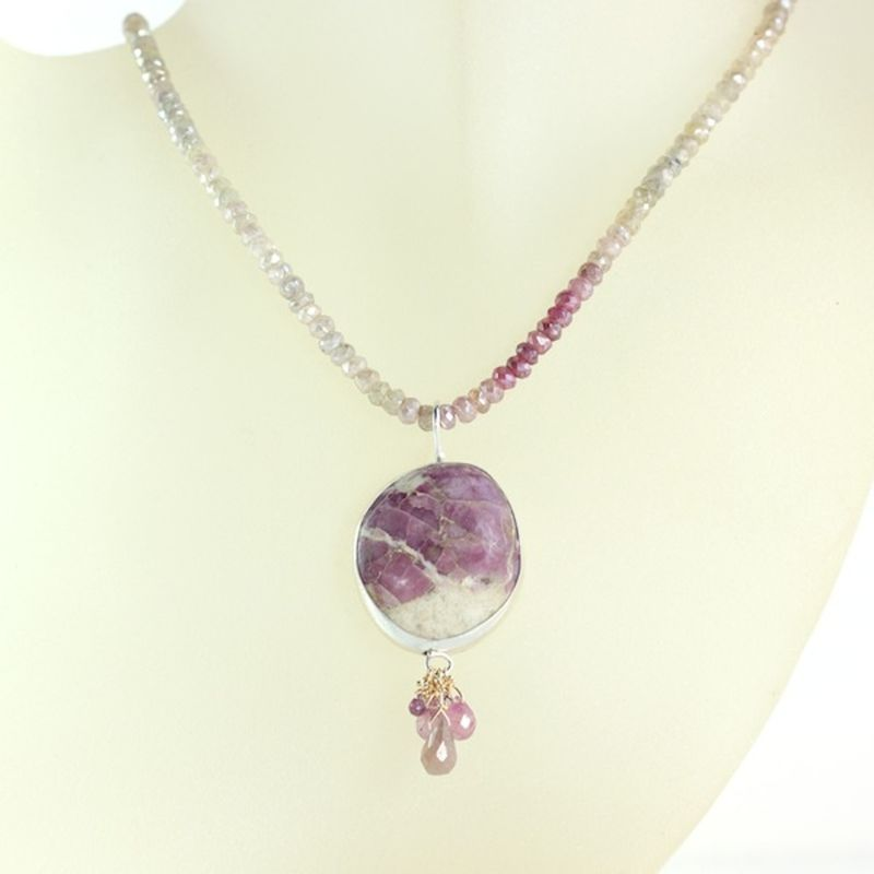 Ruby In Matrix Necklace With Sapphire Briolettes - product images  of